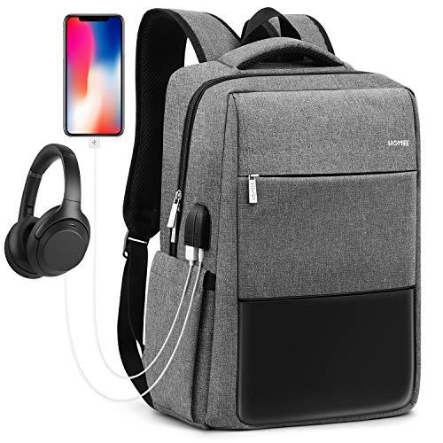 HOMIEE Business Laptop Rucksack Herren, Schulrucksack Notebook Rucksack mit USB Ladeanschlus für 15.6 Zoll Laptop, für Herren, Damen, Arbeit, Schule, Reisen (Grau)