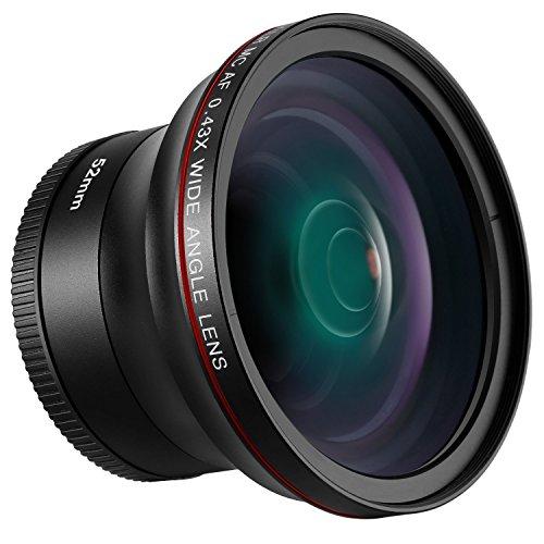 Neewer 52mm 0,43x HD Weitwinkel-Objektiv mit Makro Teil Nahlinsen kein Verzug Digital High Definition für Nikon D7100D7000D5200D5100D5000D3300D3200D3000D90D80DSLR-Kameras