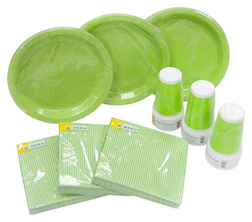 Einweg-Party-Set mit Tellern, Bechern und Servietten, 120-teilig, grün