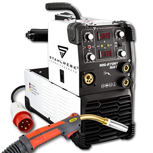 STAHLWERK MIG 270 ST IGBT - MIG MAG Schutzgas Schweißgerät mit 270 Ampere, FLUX Fülldraht geeignet, mit MMA E-Hand, weiß, 5 Jahre Herstellergarantie*