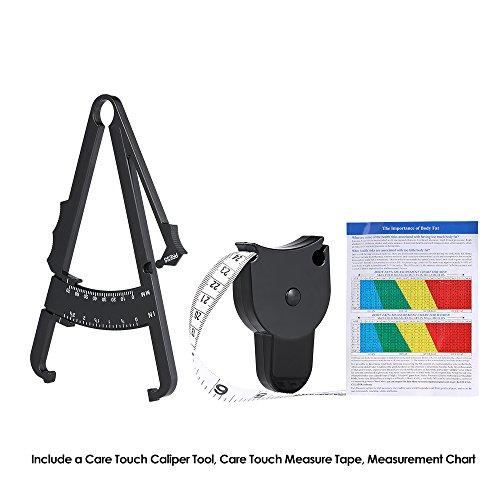 Körperfettmessgerät Caliper Körperfettzange zum Körperfett und Körperfettanteil messen Mit Ergonomisches Körpermassband und Umfangmassband Von Hmjunboys