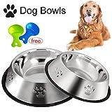 Legendog 2 Stück Edelstahl Hundenapf, rutschfeste Hundenäpfe/Futternapf und Hundenapf mit Löffel