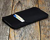 iPhone XS X schwarzes Leder Tasche Hülle Etui Cover Case Handyschale Gehäuse Ledertasche Lederetui Lederhülle Handytasche Handysocke Handyhülle Schale Socke