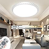 ADEMAY 24W Runde Dimmbar Modern LED Deckenleuchte Kristall Deckenlampe Wandlampe Schlafzimmer Wandlampe Schlafzimmer Mit Fernbedienung (24W Runde)