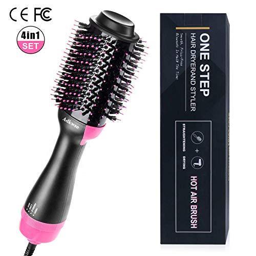 Adkwse One-Step Haartrockner, Multifunktionaler Warmluftbürste Hair Styler&Volumizer Haarglätter Negativer Ionenfön Föhn Pinsel Lockiges Haar Heißluftbürste Lockenwickler für alle Haartypen