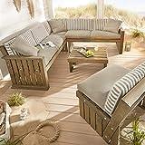 Pureday Auflagen für Outdoor-Sitzecke Lenja - wasserabweisend - Country-Style - 100% Baumwolle