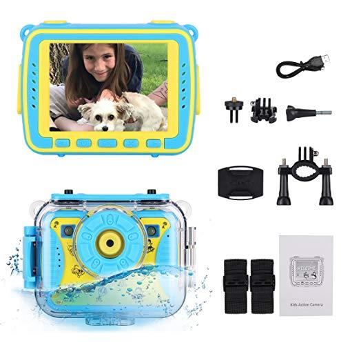 edola Kinderkamera, Unterwasser Fotoapparat für Kinder Alter 3-12 FHD Video Kamera 2,4 Zoll Farbdisplay 5 Megapixel & 180 ° Drehbare Linse Digitalkamera mit wasserdichte Abdeckung, Halterung, Gurt
