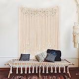 Aparty4u Große Handgefertigte Makramee Wandbehänge 115 x 100cm, gleichmäßig Baumwolle Seil Fransen gewebten Wand Banner Boho Hochzeit Hintergrund Dekorationen Home Art Décor