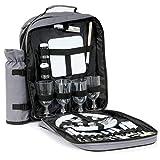 CampFeuer Picknick Rucksack für 4 Personen mit Flaschenhalter, großem Kühlfach, Geschirr und Besteck, Picknickset 31-teilig, grau