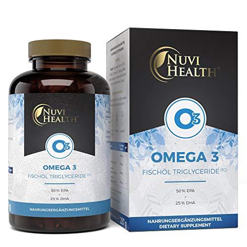 Nuvi Health Omega 3 Fischöl Triglyceride Form - 200 Kapseln mit 1000 mg (50% EPA + 25% DHA) - Laborgeprüfte Reinheit & Qualität - Hochdosiert - Aus nachhaltigem Fischfang