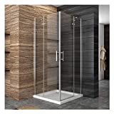 Duschkabine Eckeinstieg 90 x 90 x 195 cm mit Pendeltüren (6 mm ESG-Glas)