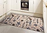 Teppich Modern Flachgewebe Gel Läufer Küchenteppich Küchenläufer Braun Beige Schwarz mit Schriftzug Coffee Cappuccino Espresso Latte Größe 80x150 cm