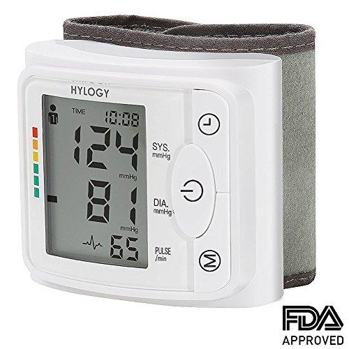 Blutdruckmessgerät Handgelenk, Hylogy Vollautomatische professionelle Blutdruk-und Pulsmessung mit 2*120 Speicherplätze, hoher Genauigkeitsmessung, LCD großem Display und Tagbare Aufbewahrungsbo
