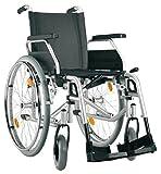 Bischoff Rollstuhl S-Eco 300 Faltrollstuhl Sitzbreite 46 cm Reiserollstuhl PU-Bereifung (pannensicher) - Adapterblock - Feststellbremse Fahrerbedienung - Passive Beleuchtung