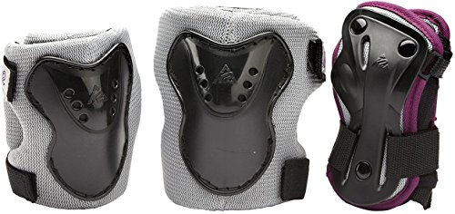 K2 Kinder Schoner Charm Pro Jr Pad Set, silber/schwarz/dunkelrot, XS, 3041700.1.1.XS