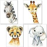 artpin 4er Set Bilder Kinderzimmer Deko Junge Mädchen - DIN A4 Poster Tiere - Safari Afrika Wandbilder - Porträt Elefant Tiger Giraffe Zebra (P35)