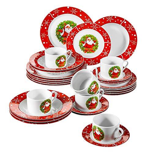 VEWEET, Serie SANTACLAUS, Porzellan Tafelservice, 30-teilig Geschirrservice für 6 Personen, Beinhaltet Kaffeetassen, Untertassen, Dessertteller, Speiseteller und Suppenteller