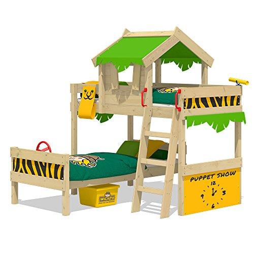 WICKEY Etagenbett CrAzY Jungle Hochbett Doppel-Kinderbett 90x200 mit Lattenboden und Dach, apfelgrün-gelb