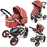 3in1 Kinderwagen Kombikinderwagen'Bambimo von Daliya' mit Babyschale Farben Elegance Rot - Aluminium Rahmen - 2in1 Babywanne Sportsitz Platzsparend