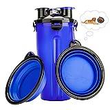 RIZON Tragbare Haustier Wasserflasche 2-in-1 Set mit Faltbar Hunde Reisenapf (2er Set),Katzen Hunde Trinkflasche wasserspender für Unterwegs, Wandern, Draussen,BPA Frei,350ml,Grün