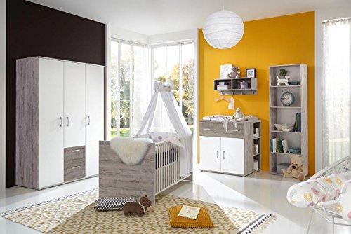 Babyzimmer, Kinderzimmer, Babymöbel, Komplett-Set, Babyausstattung, Babybett, Wickelkommode, Schrank, Mädchen, Junge, weiß, Eiche Sand