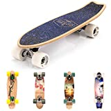 meteor Holz Skateboard Kinder - Mini Cruiser Kickboard - Skateboard mädchen Rollen Board - hohe Qualität Old School Skateboards Holz Deck - Retro Skateboard Jungen - Kinder Mini-Board (Spaceman)