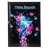 Goldbuch Freundebuch, Schmetterling, DIN A5, 88 illustrierte Seiten, Kunstdruck, Schwarz/Pink/Blau, 43577