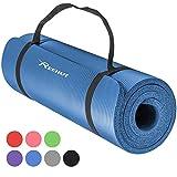 Reehut 12mm NBR Gymnastikmatte + Tragegurt Extra-Dick Rutschfest Phthalatenfrei Unisex Sportmatte für Yoga Pilates Fitness Gymnasitk, 181 x 61 cm(Blau)