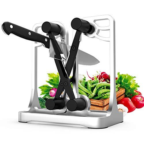 Messerschärfer, ANYUKE Messerschaerfer Professional Messerschleifer, Profi Messer Schärfer für Messer und Gezahntes Messer, Sichere Küchenwerkzeuge - Kitchen Knife Sharpener (Silber)