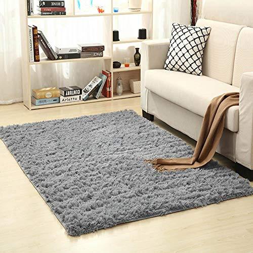 Biback Teppich, 120 x 160 cm, waschbar, modernes Design, für Wohnzimmer, Esszimmer, Kinderzimmer, SAMT, weich, Rutschfest grau