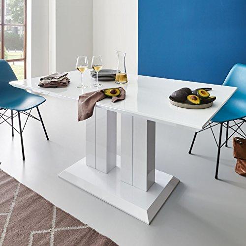 Moebella Hochglanz Esstisch Tisch Marbella 120x80cm Lack Weiss Säulentisch