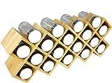 Harcas Gewürzregal aus Bambus inkl. 18 Gewürzgläsern und Labeln. Frei- stehender, großer Küchenorganizer mit den Maßen 43cm x 9.5cm x 18cm. Gläser mit Chromdeckeln