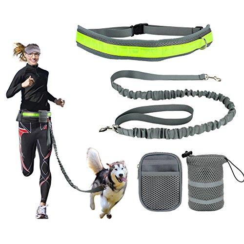 KYG Jogging Hundeleine mit Hüftgurt und Reflektor-Streifen elastisch 145-180 CM ideal fürs Jogging, Radfahren, Reiten oder als normale Hundeleine