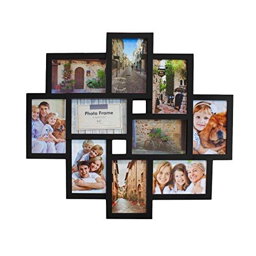 Smartfox Bilderrahmen Fotorahmen Collage für 10 Bilder im Format 10x15 cm in Schwarz