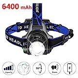 zknen Stirnlampe LED, 6400mAh USB Wiederaufladbare Stirnlampe Kopflampe Wasserdicht Leichtgewichts für Laufen Jogging Lila Reparieren mit 2 Stück 18650 Akkus