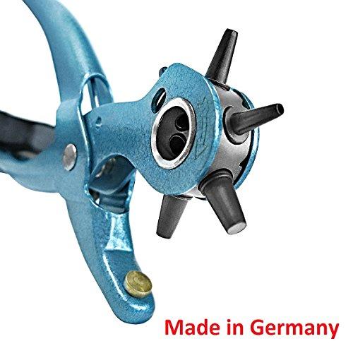 S&R Lochzange Präzision /MADE IN GERMANY / Revolverlochzange Pfeifzange M 225 mit 6 auswechselbaren Lochpfeifen 2 - 2,5 - 3 - 3,5 - 4 - 4,5 mm; Variozange