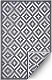 FH Home Indoor/Outdoor recyceltem Kunststoff Bodenmatte/Teppich - reversibel - Wetter und UV-beständig - Aztec - Grey/White (90 cm x 150 cm)