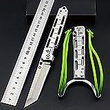 Lionex Tanto Klappmesser Einhandmesser Outdoor Messer EDC Messer Folder, 8,5 cm Klingenlänge (1: Silber)