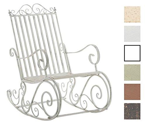 CLP Eisen-Schaukelstuhl SMILLA im Landhausstil | Schwingstuhl mit hoher Rückenlehne | In verschiedenen Farben erhältlich Antik Weiß