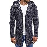 MEIbax Herren Hooded Strickjacken Trenchcoat Jacke Kapuzenpullover Langarm Outwear Cardigan Sweatshirts Mantel