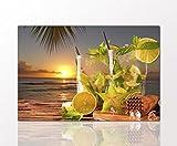 BERGER DESIGNS - Küchenbild 'Summer lime cocktail' 40x60 cm auf Leinwand und Holzkeilrahmen (Küche, Gläser, Früchte, Cocktail, Erfrischung, Strand, Meer, Sonnenuntergang) - Beste Qualität, handgefertigt in Deutschland