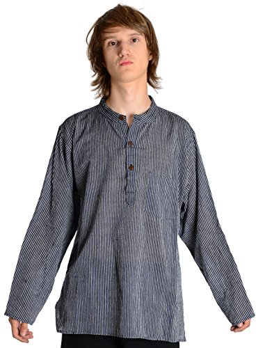Fischerhemd blau-weiß gestreift Baumwoll-Hemden Kurta Hemd XL