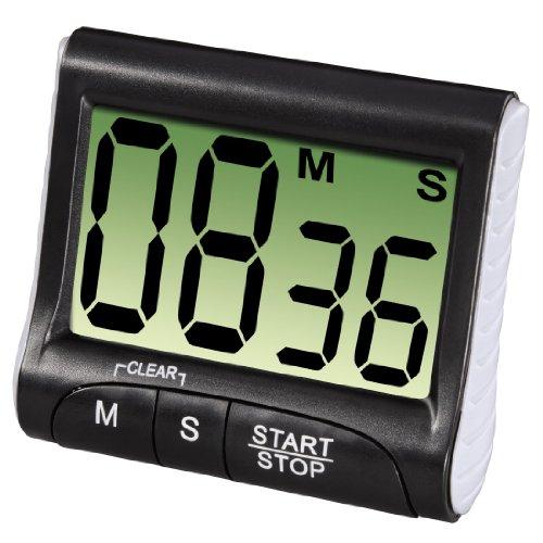 Xavax Digitaler Küchentimer mit Timer- und Stopp-Uhr-Funktion (Befestigung via Magnet, Clip, Hänger oder Aufsteller) batteriebetrieben, schwarz