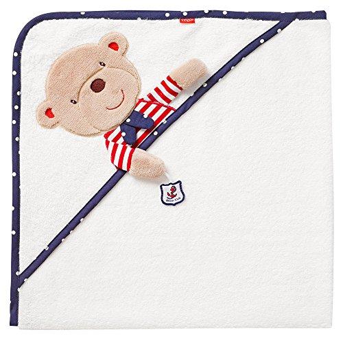Fehn 078510 Kapuzenbadetuch Teddy / Bade-Poncho aus Baumwolle mit Teddy Motiv für Babys und Kleinkinder ab 0+ Monaten / Maße: 80x80cm