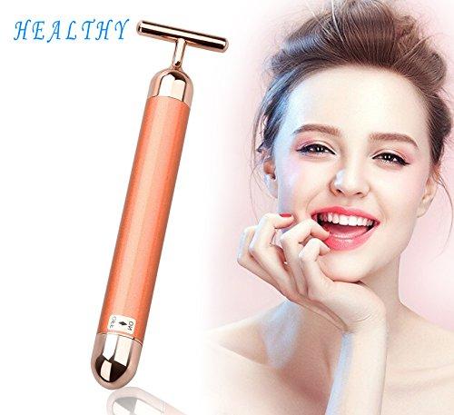 Gesichts-Hautstraffer-Rollenmassagegerät - 24K Golden Beauty Bar - T-Form Elektrische Anti-Aging-Puls-Hautpflege - elektrischer Vibrationsmassagegerät