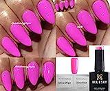 Bluesky Nagellack-Gel UV-LED-Soak Off, Neon 21,Blütenblatt, Bubblegum Pink Malve, 10ml plus 2LuvliNail Glanz-Tücher