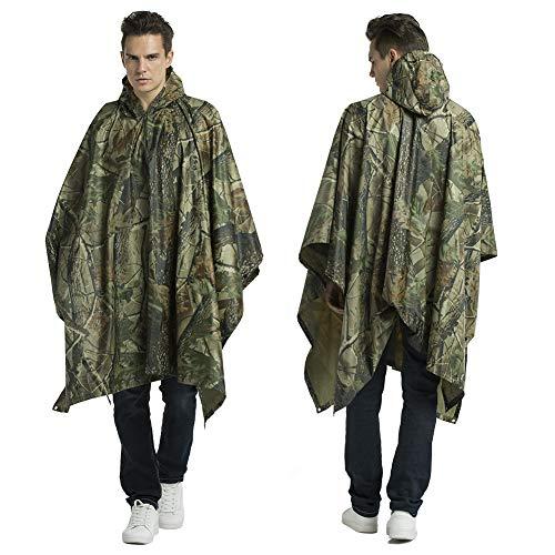 Croch Regenponcho für Herren und Damen - Multifunktions Camouflage Regenmantel mit Kapuze für Reise, Camping, wandern, Angeln und Fahrradfahren