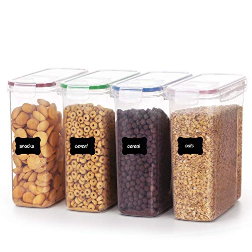 YIHONG 4L Große Vorratsdosen Set,Müsli Schüttdose & Frischhaltedosen, BPA frei Kunststoff Vorratsdosen luftdicht, Satz mit 4 + 24 Etiketten und Stifte für Getreide, Mehl, Zucker usw.