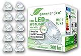 10x greenandco CRI 90+ LED Spot ersetzt 20 Watt MR16 GU5.3 Halogenstrahler, 3W 200 Lumen 2700K warmweiß COB LED Strahler 38° 12V AC/DC Glas mit Schutzglas, nicht dimmbar, 2 Jahre Garantie