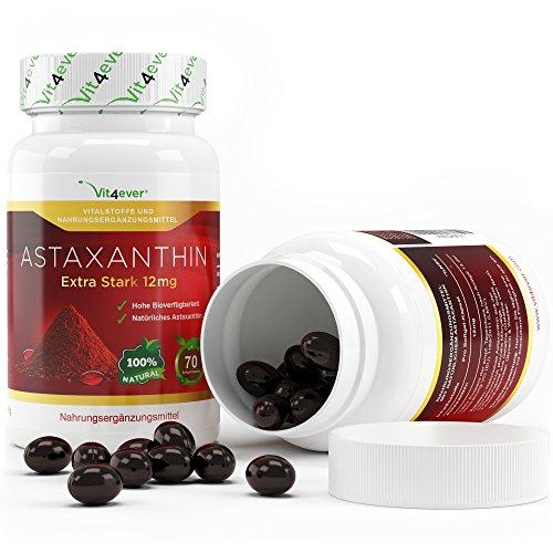 Astaxanthin 12 mg, 70 Softgel Kapseln zum Sonderpreis, Neue Version, starker natürlicher Antioxidant, Hohe Bioverfügbarkeit, Vit4ever